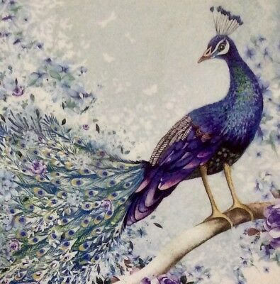 3 Paper Napkins for Decoupage/Parties/Weddings - Peacock
