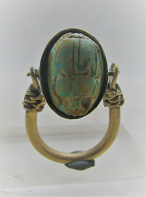 Beautiful Egyptian Swivel Ring With Faience Scarab Insert Wearable