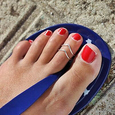 Celebrity Simple Retro Open Toe Ring Adjustable`Foot Beach Jewelry Vogue 2ColorB