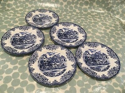 Vintage Blue/ White Dinner plates,probably Royal Stafford,with coaching scene