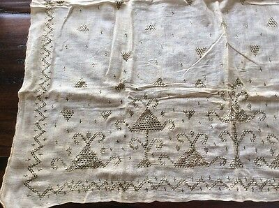 ottoman turkish metallic embroidered scarf