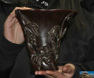 Marked Old China Ox Horn Carved squirrel grape ancient Wine vessel Cup wineglass