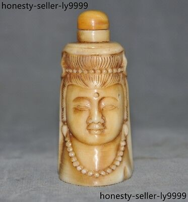 Chinese old Cattle bone carved Kwan-Yin Bodhisattva Buddha head snuff bottle