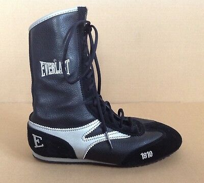 Everlast Boxing Boots Shoes Boys Size UK 3 Black Silver Authentic Good Condition