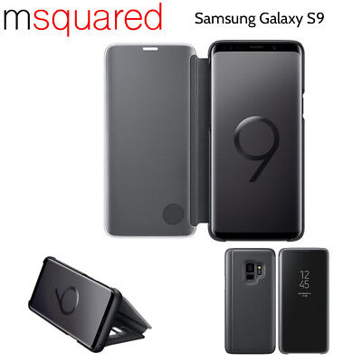 New Samsung Galaxy S9 Luxury Smart Phone Mirror Clear View Flip Case Stand Cover