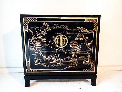 DREXEL Et Cetera Black Lacquer Chinoiserie console cabinets / nightstands