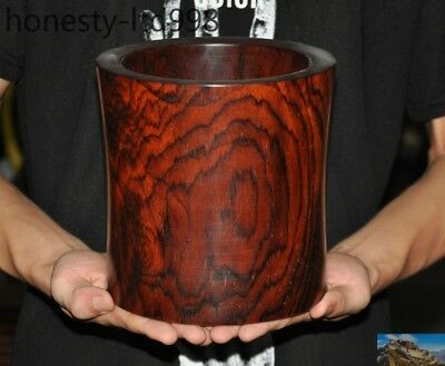 Antique China exquisite Huanghuali Wood Carve Glossy Round Brush Pot Pencil Vase