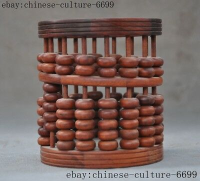"5""old Chinese Yellow pear wood wood master Hand carved Cylinder abacus statue"