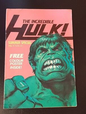 Vintage Marvel The Incredible Hulk Summer Special UK Comic 1982 with FREE Poster