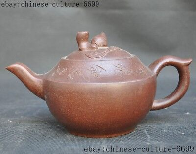 Marked old Chinese Yixing Zisha pottery carving peach Text teapot tea pot maker