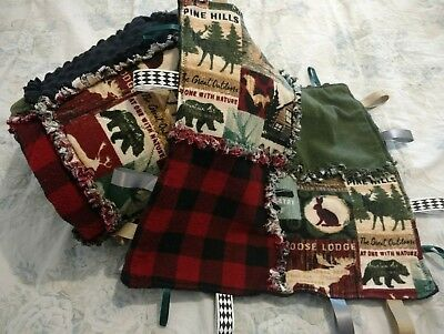 Woodland Animals Cabin Hunting Baby Rag Quilt Blanket w/ taggie Handmade 42x42