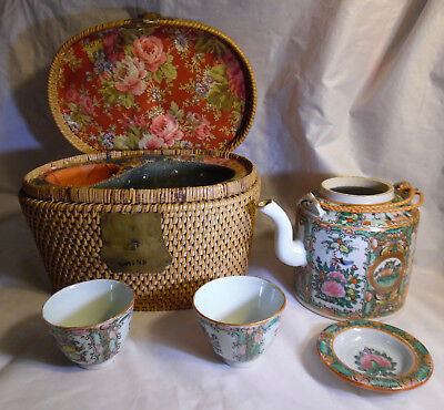 Rose Medallion Tea Basket w/2 Cups and a Teapot