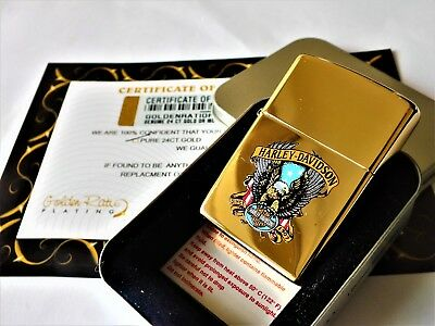 24Ct Gold Plated Harley Davidson Eagle Zippo Petrol Refillable Lighter Gift Box