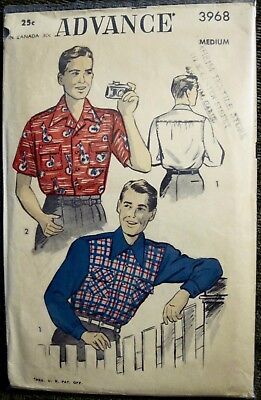 "Vintage Advance Men's Casual Sport Shirt 2 Style Sleeves Pattern  Chest 38""-40"""