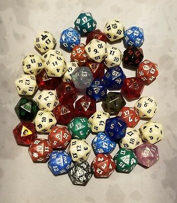 MTG Magic the Gathering Lot of 46 D20 Life Counter Fat Pack Bundle Dice Die