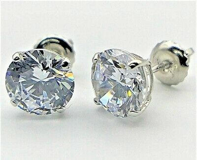 4 CT Round Created Diamond Stud Earrings 14K Solid White Gold Screw Back 8mm