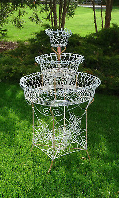 Antique 4 Tier Wire Plant Stand Round 4 Baskets Victorian Garden Sunroom Wedding