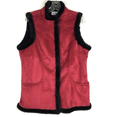 Denim & CO Womens Size Small Vest Faux Leather Fur Lined