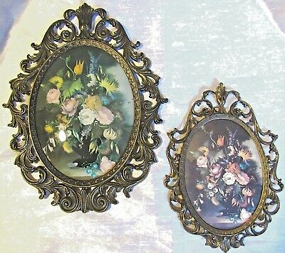 Lot 2 Vintage Ornate Oval Brass Frames Flowers/Floral Convex/Bubble Glass Italy