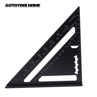 Aluminum Woodworking Measure Ruler Metric Rafter Square Triangle Protractor