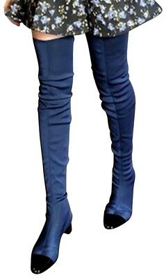 3a300c86084 Zara Navy Blue Stretch Over Knee Thigh High Cap Toe OTK Boots New Size 36