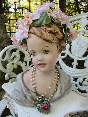 Vintage Bust Statue Lady Angel Girl Shabby Chippy Peely Mannequin Display Unique
