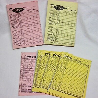 Vintage 1956 Yahtzee Colored Score Pads 2 Pad and 38 Loose Pages
