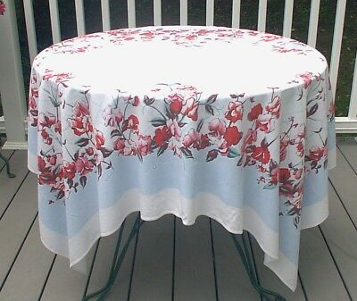 Vintage Tablecloth White Blue Red Flowers