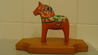"Vintage SWEDISH Folk Art Handcrafted Wood DALA HORSE 3.5""With Wood Stand 7""x3.4"""