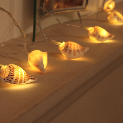 Sea Shell Fairy Lights - Battery Operated - 10 Warm White LEDs - Real Shells...