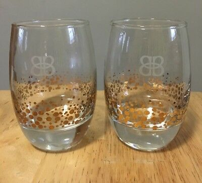 2 Bailey's Rocks Bar Glasses- Rounded Heavy Base- Etched Bb- Gold Confetti