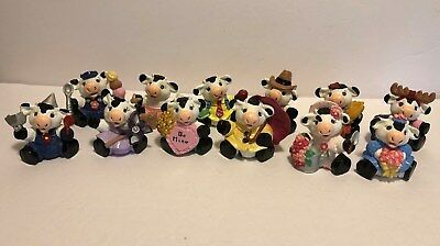Set of 12 Monthly Calendar Cows – Vintage Ceramic Hand Painted