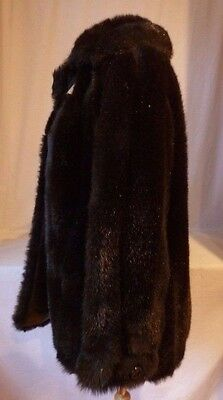 St. Moritz Faux Mink Fur Coat~Leather+Satin Lining Looks Real~CLEAN+FRESH Size16