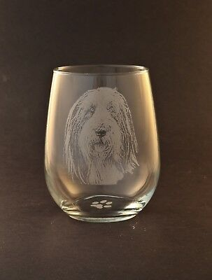New Etched Bearded Collie on Large Elegant Stemless Wine Glasses - Set of 2