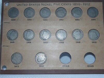 Antique US Coin Lot 14 Liberty V Nickel 5 Cents 1899 - 1912 Free S/H