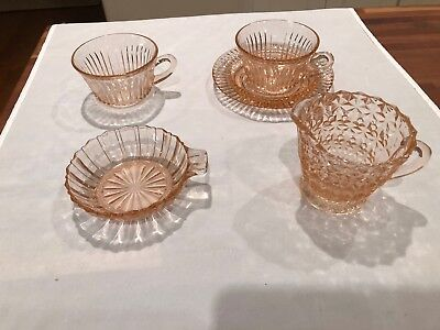 Antique Pink Depression Glass Vintage Mixed Lot 5 Pieces