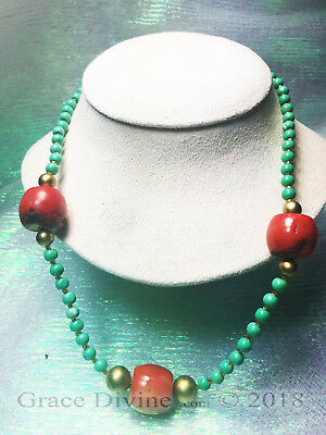 LUCKY 3 Egypt Magick Rose ENERGY POWER RED CORAL BLUE BEAD GOLD PLATED OR SILVER
