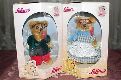Schuco Bearli Grandpa and Grandma Bear Collectible Mohair Bears NIB Set of 2