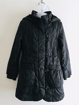 M&S Girls or Boys Padded Thermal Winter Hooded Black Coat. Size 5-6.