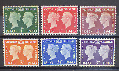 GB 1940 KGVI Centenary Of First Adhesive Stamps SG 479-484 MNH