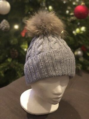 6f0152786ef CHARCOAL GREY PURE cashmere fur pom pom cable knit beanie hat MADE ...