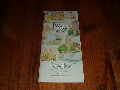 1989 Edition PREFERRED HOTELS WORLDWIDE Directory Book Travel Hotel Motel old