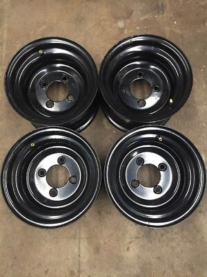 Golf Cart Wheel Set of 4 Combo For Lift Carts 10 Inch Black Steel Wheels 10x6