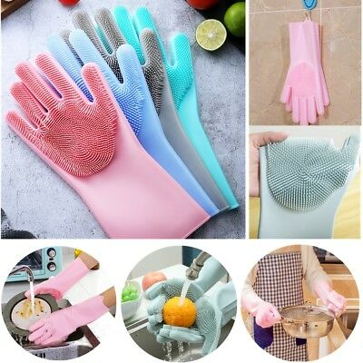 1 Pair Magic Silicone Dish Washing Gloves Heat Resistant Scrubber Cleaning Brush