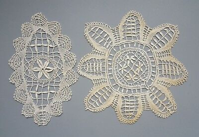 Vintage or Antique Slovene Idrija? Lace Doily Pair of 2 Doilies 19th Century