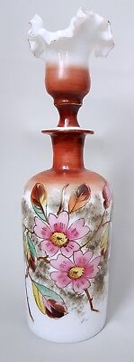 Antique Bristol Painted White Glass Decanter & Stopper Pink Floral Brown
