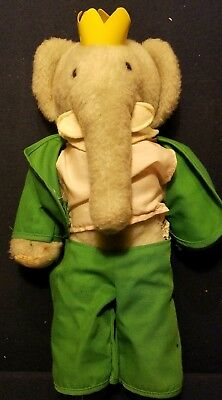 Vintage 1977 Babar Elephant 10 Plush Stuffed Animal Toy Rare