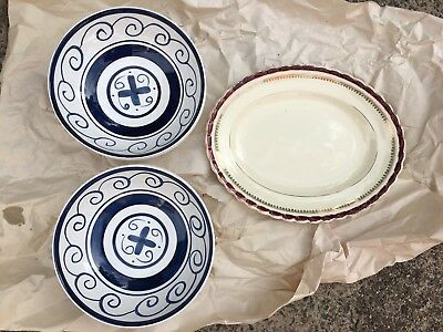 Ceramic hand painted bowls x 6 and one vintage platter plate