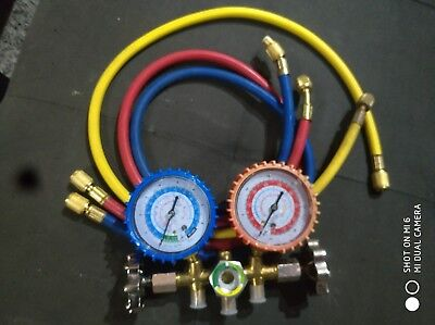 R12 R134A A/C Refrigerant Kit 3-Way Manifold Gauge Charging Hose Quick