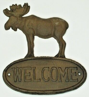 Moose welcome sign Cast iron rustic cast iron